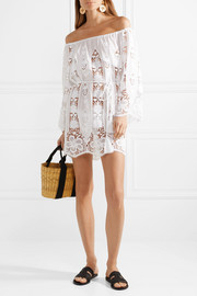 Brigitte off-the-shoulder crocheted cotton-voile mini dress