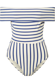 The Vera off-the-shoulder striped swimsuit