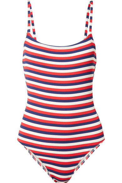 The Nina Striped Ribbed Stretch Knit Swimsuit by Solid & Striped