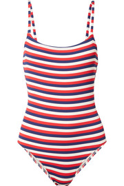 The Nina striped ribbed stretch-knit swimsuit