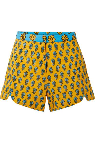 Sami Printed Cotton Shorts in Marigold