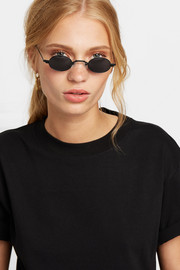 Doris oval-frame stainless steel and acetate sunglasses