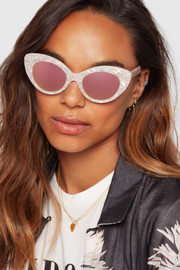 Agnes cat-eye acetate mirrored sunglasses