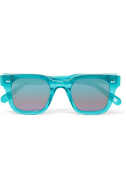 Square-frame acetate mirrored sunglasses