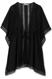 Charo Ruiz Kayla crocheted lace-paneled cotton-blend kaftan