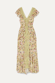 Susan crocheted lace-paneled floral-print crepe de chine maxi dress