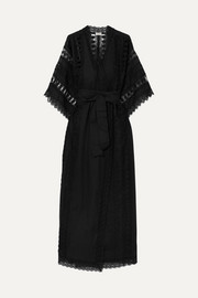Aquila crocheted lace-paneled cotton-blend kaftan