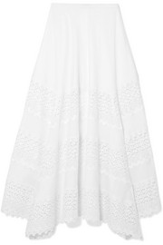 Ula crocheted lace-paneled cotton-blend midi skirt