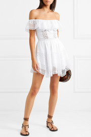 Vaiana off-the-shoulder cotton-blend mini dress