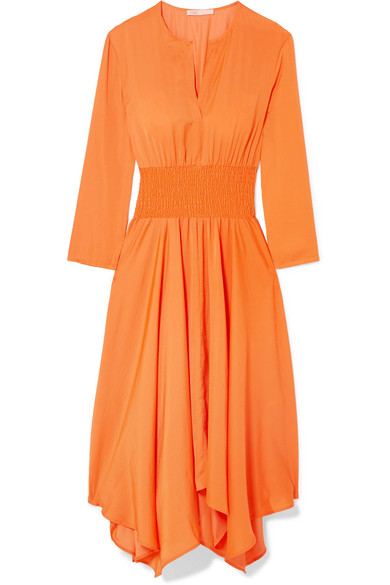 Shirred Voile Midi Dress by Maje