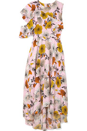 One-shoulder floral-print crepe midi dress