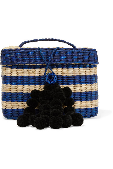 NANNACAY Baby Roge Pompom-Embellished Striped Woven Raffia Tote in Blue
