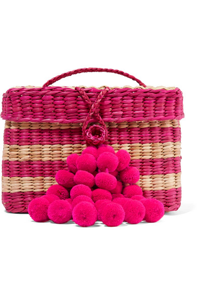 NANNACAY Baby Roge Pompom-Embellished Striped Woven Raffia Tote in Sand