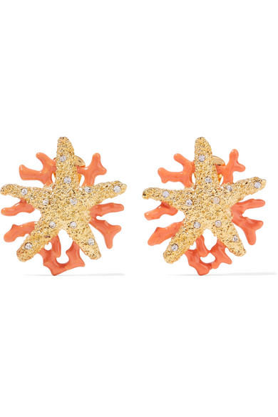 Kenneth Jay Lane - Gold-plated, Crystal And Enamel Clip Earrings