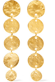 Hammered gold-plated earrings