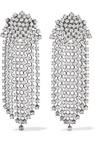 Kenneth Jay Lane Gunmetal Plated Crystal Clip Earrings