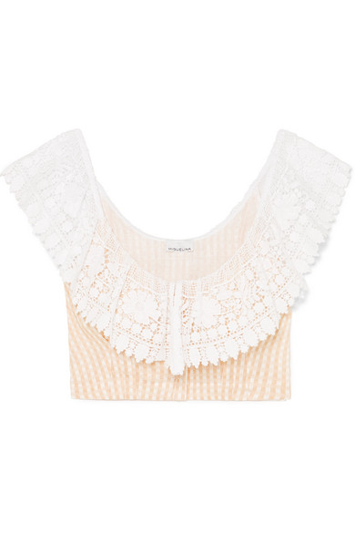 Miguelina EFFIE CROCHETED GINGHAM LINEN TOP