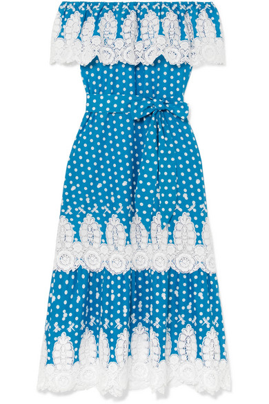 MIGUELINA LISSELLE OFF-THE-SHOULDER CROCHETED POLKA-DOT COTTON DRESS