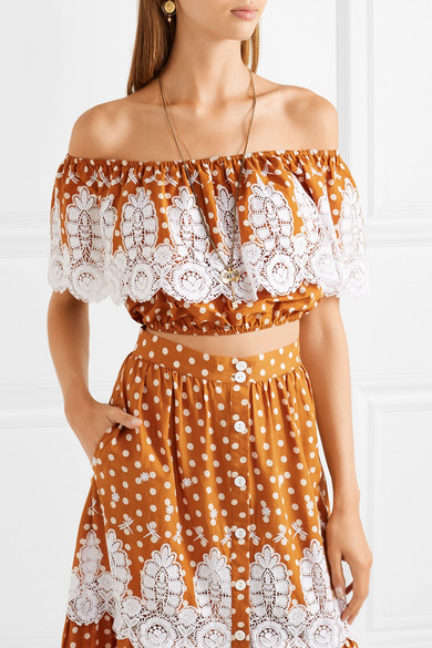 Dakota Off-the-shoulder Crocheted Polka-dot Cotton Top - Tan Miguelina Drop Shipping Discount Looking For Buy Cheap Largest Supplier Cheap Many Kinds Of New Styles NdfzE2Kae