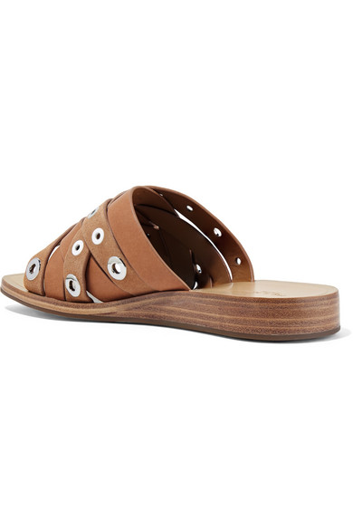 RAG&BONE Hartley Eyelet-embellished Leather And Suede Slides - Tan Find Great Good Selling Sale Online Cheap Low Shipping Clearance Great Deals Buy Cheap Largest Supplier ylky5