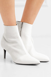 Beha paneled leather and suede ankle boots