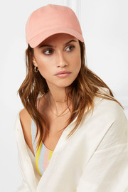 Marilyn leather-trimmed cotton-twill baseball cap