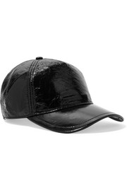 Marilyn glossed textured-leather baseball cap