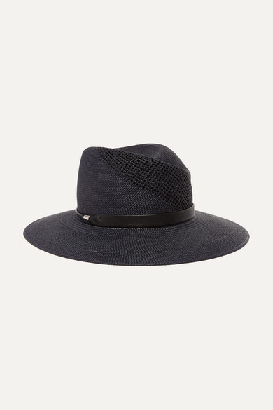 fa85c064e42 rag   bone. Zoe leather-trimmed straw fedora