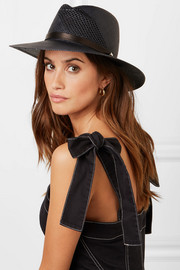 Zoe leather-trimmed straw fedora