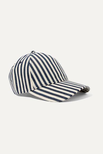rag   bone. Marilyn leather-trimmed striped denim baseball cap 87bff3a833bd