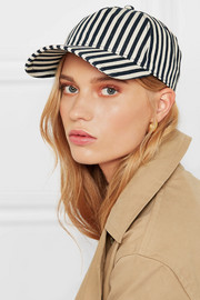 Marilyn leather-trimmed striped denim baseball cap