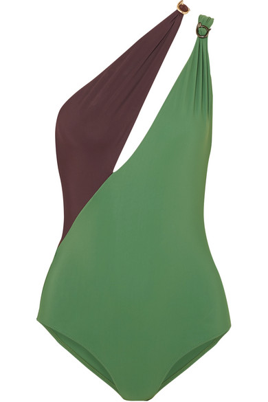 ON THE ISLAND BY MARIOS SCHWAB Double Boa Cutout One-Shoulder Swimsuit in Dark Green
