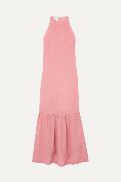 ON THE ISLAND BY MARIOS SCHWAB Ogygia Tiered Satin Maxi Dress in Pink