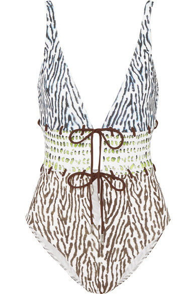 ON THE ISLAND BY MARIOS SCHWAB CALYPSO LACE-UP PRINTED SWIMSUIT