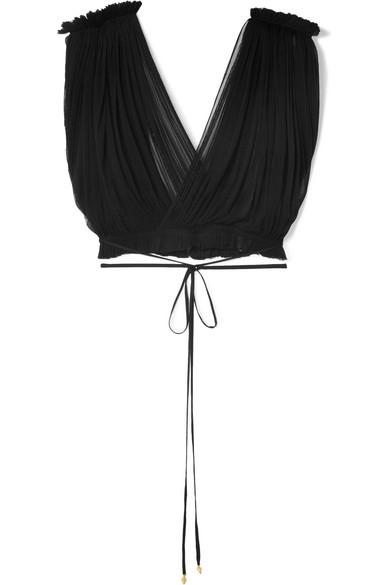 ELENA MAKRI Antigone Cropped Pleated Silk-Tulle Top in Black