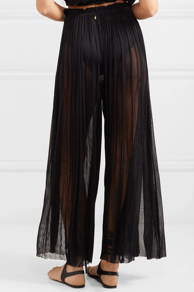 Pantalon En Soie Tulle Tegea Plissés - Elena Noir Makri fEW3fg