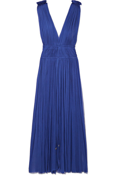 ELENA MAKRI Vereniki Pleated Silk-Tulle Midi Dress in Cobalt Blue