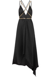 Artemis embellished plissé silk-georgette midi dress