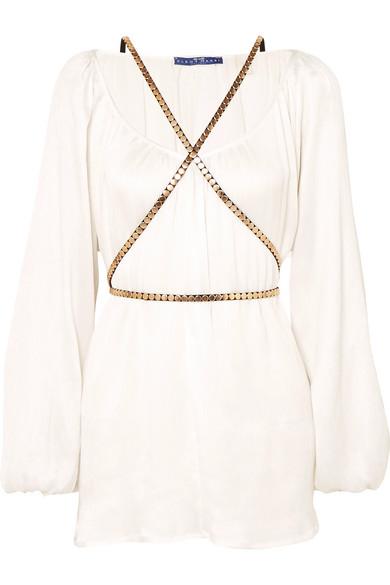 ELENA MAKRI Arcadia Plissé-Silk Mini Dress in White