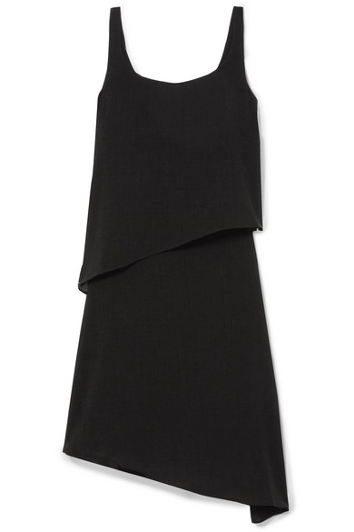 CEFINN Asymmetric Layered Voile Dress in Black