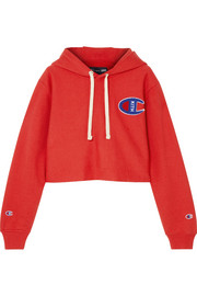 + Champion Nia cropped appliquéd cotton-jersey hooded top