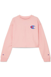 + Champion Brianna oversized cropped appliquéd cotton-blend jersey sweatshirt