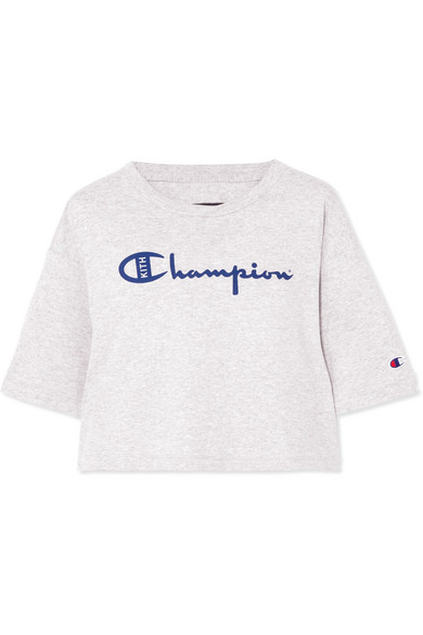 Kith + Champion Alexis verkürztes T-Shirt aus Jersey aus einer Baumwollmischung mit Print