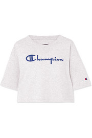 + Champion Alexis cropped printed cotton-blend jersey T-shirt
