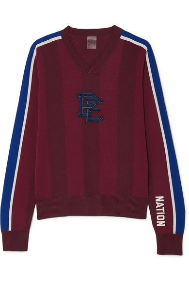 P.E NATION - Battlefield Appliquéd Striped Knitted Sweater - Burgundy