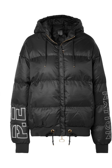 P.E NATION UNDER THE WIRE HOODED PRINTED QUILTED SHELL JACKET