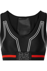 The Huddle mesh-paneled printed stretch sports bra