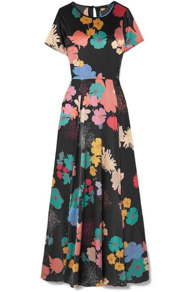 Nanna Floral Print Silk Blend Satin Maxi Dress by Stine Goya