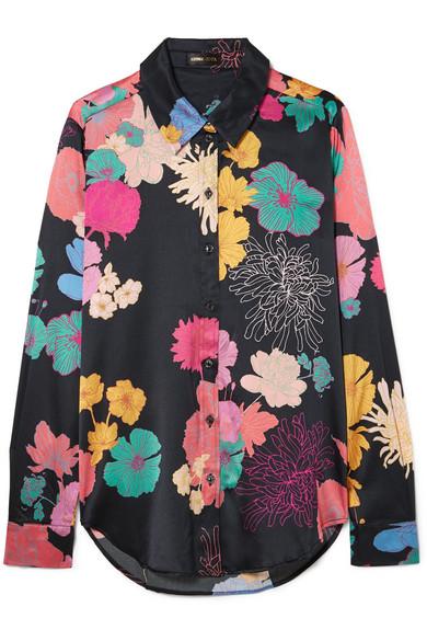 Maxwell Floral Print Silk Blend Satin Shirt by Stine Goya