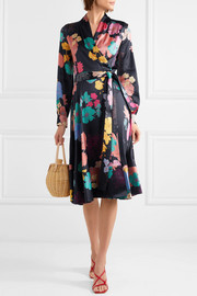 Reflection floral-print silk-blend satin wrap dress